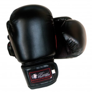 Black/Red Artificial Leather Boxing Gloves