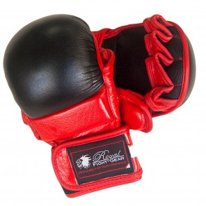 Black/Red Leather Training Gloves