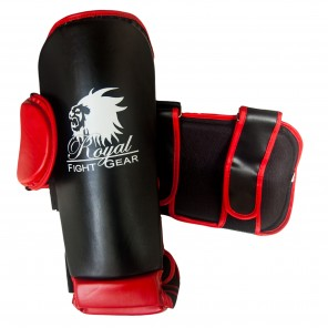 Black/Red Artificial Leather Shinguards