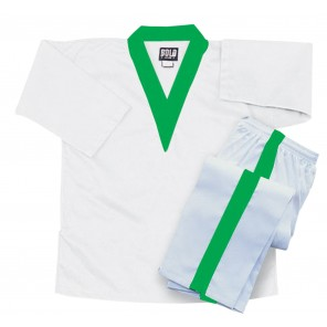 White V-Neck Set With Green Collar