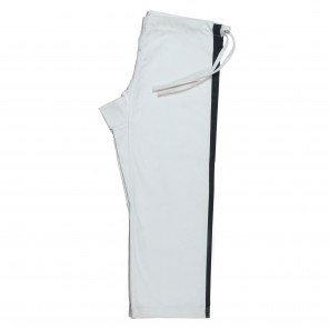 White Heavyweight Pants with Black Trim