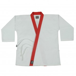 White With Red Collar Trim Tops