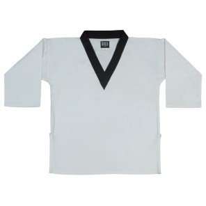 White With Black Collar Trim Tops