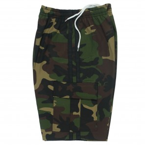 7.5oz Green Camo Shorts with Black Stripes