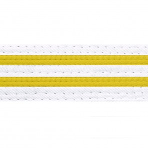 White Belts With Double Yellow Stripes