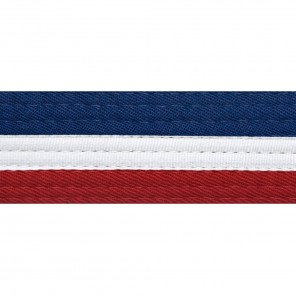 Half Blue/Half Red Belts With White Stripe