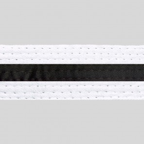 White  Belts With Black Stripe