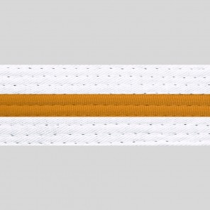 White With Gold Stripe Belt Keychain
